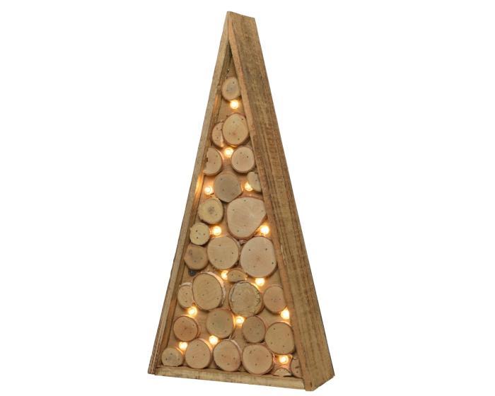 Alberi Di Natale In Legno.Albero Di Natale Luminoso Stilizzato In Legno 24 Led Bianco Caldo