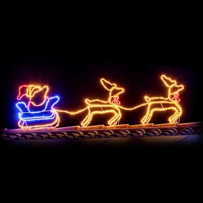 Immagini Luminose Natale.Babbo Natale Con Slitta E Renne 3d Luminoso Bianco Caldo