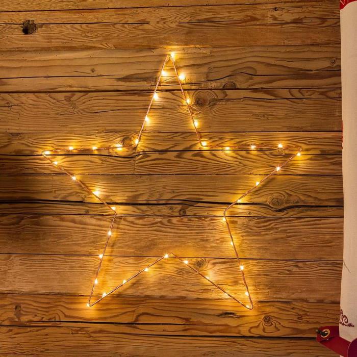 Stella Di Natale A Batteria.Stella Di Natale Luminosa 2d Telaio Color Rame 40 Led A Batteria